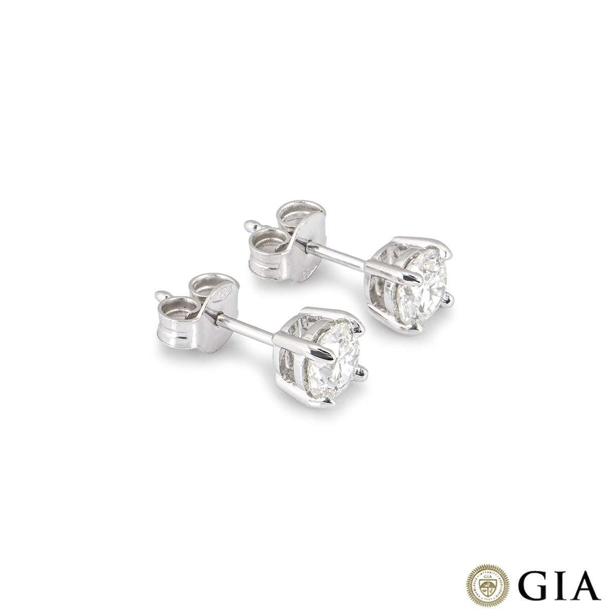 White Gold Round Brilliant Cut Diamond Earrings 1.20ct TDW